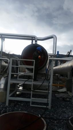Su Jeti ile Jeotermal Santralde Vaporizer Temizliği